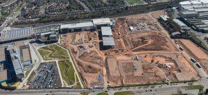 Aerial view of Marks and Spencer Longbridge, Birmingham, April 2015