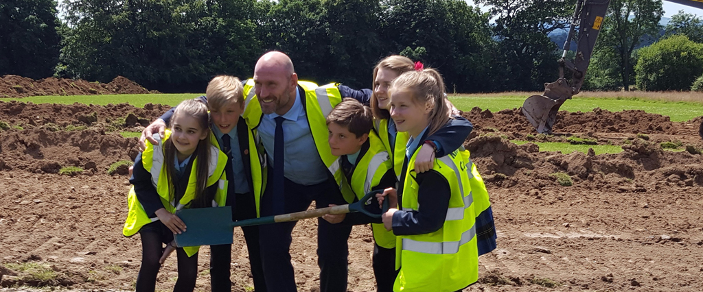 Lawrence Dallaglio, OBE cuts first turf at Warden Park Academy