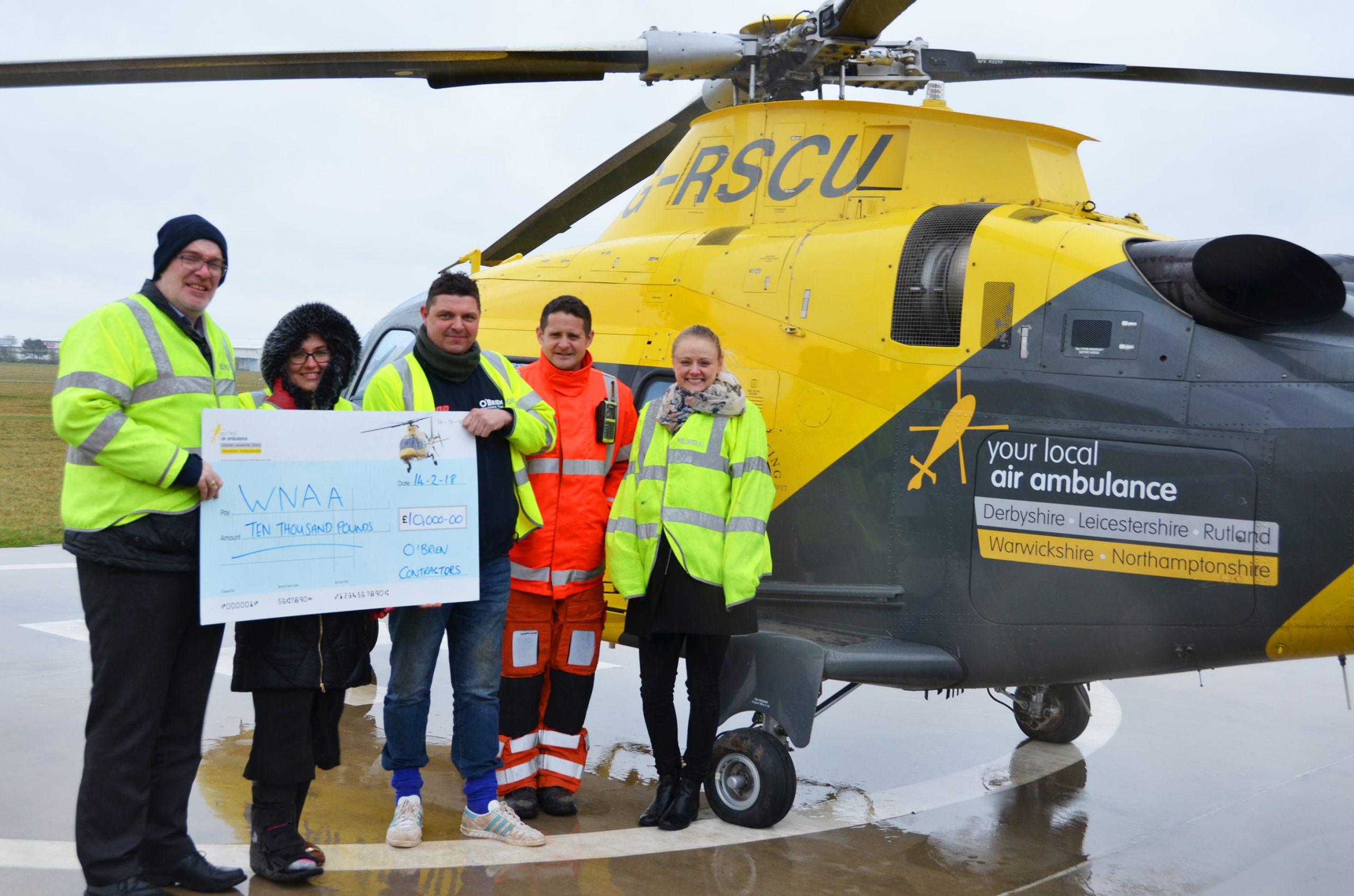 O'Brien Charitable Trust Donates £10k to Warwickshire & Northamptonshire Air Ambulance
