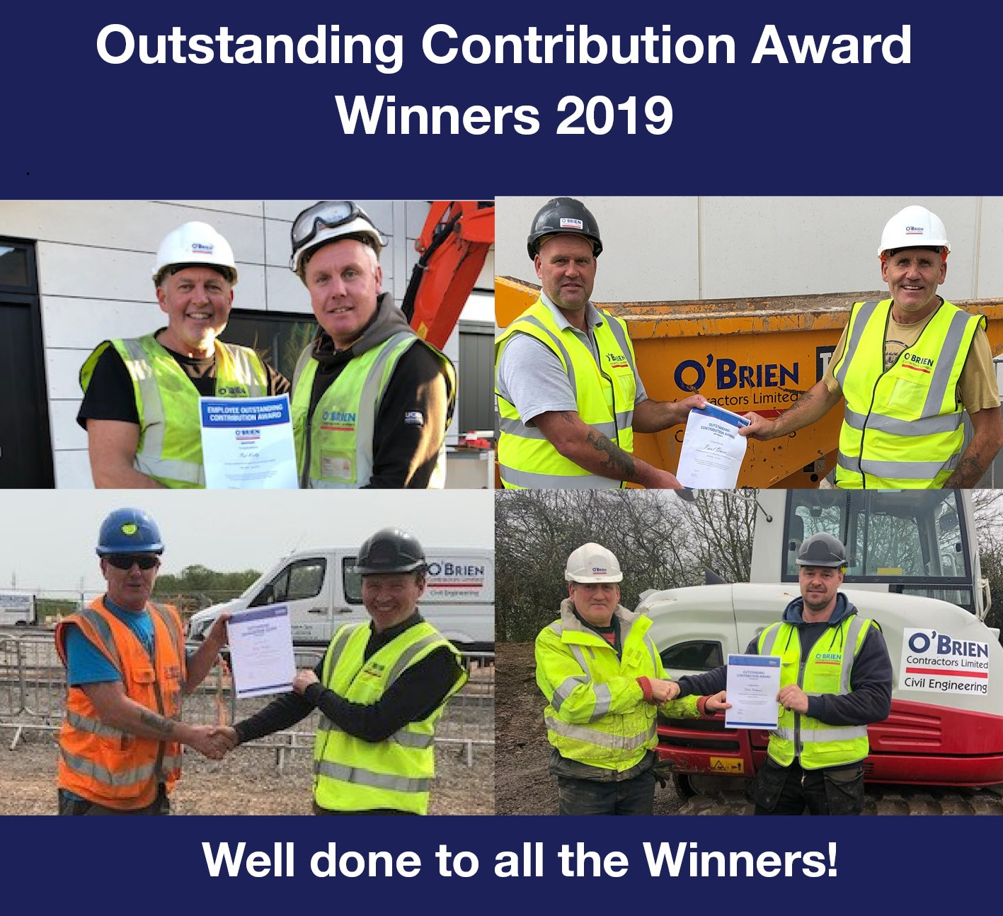 O'Brien Celebrates the 2019 Winners of our 'Employee Outstanding Achievement Award'!