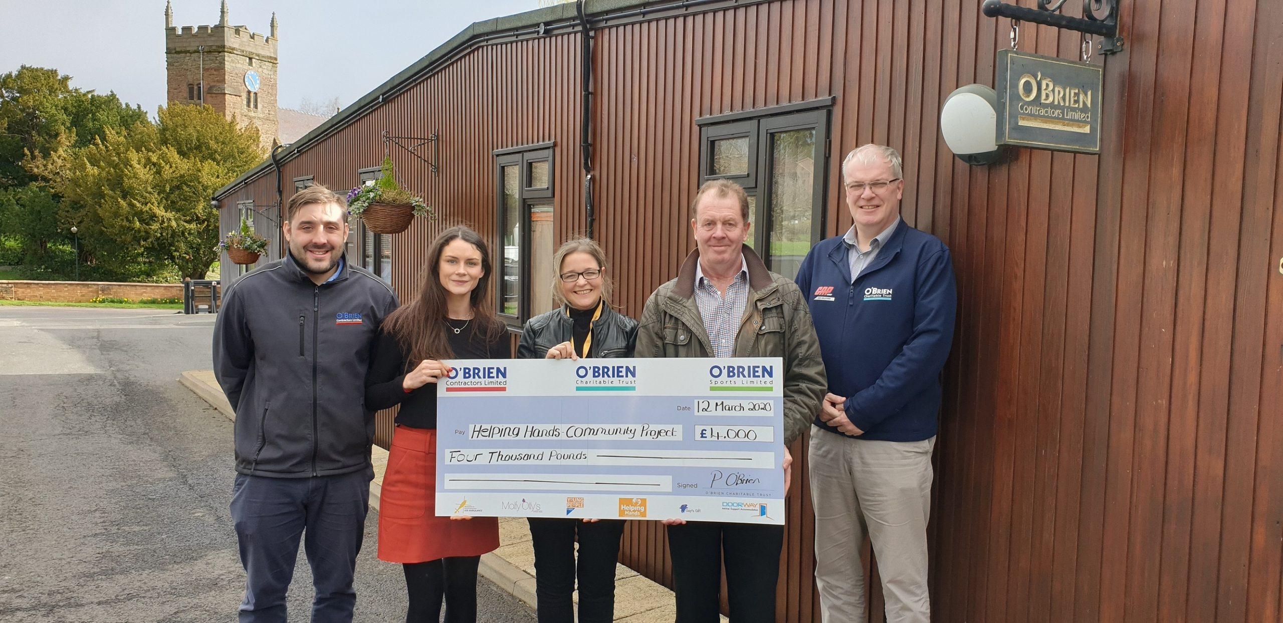 O'Brien Contractors Presents £4,000 to Helping Hands Community Project