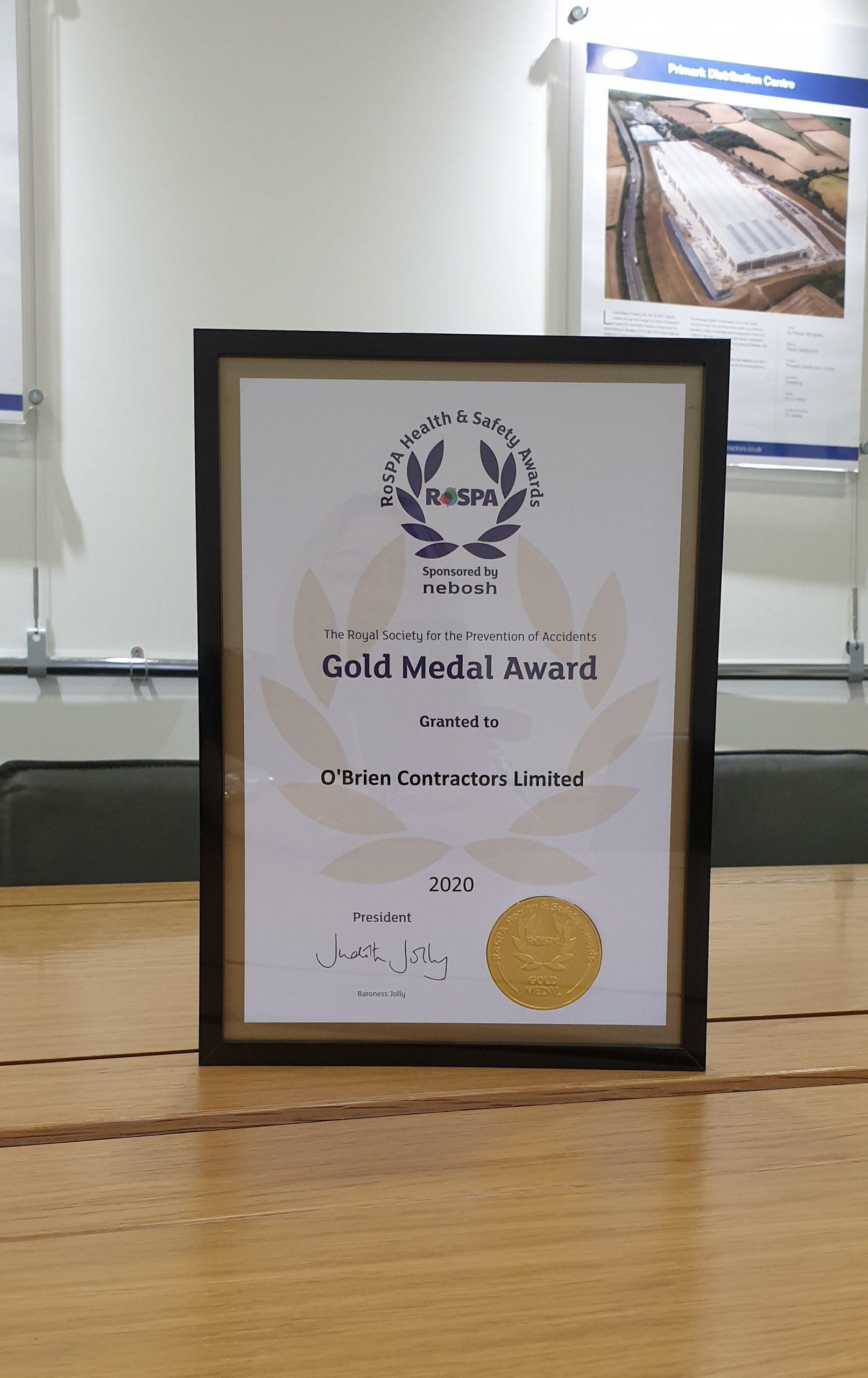 O'Brien Contractors Awarded 7th Consecutive RoSPA Gold Award and (3rd Gold Medal Award)
