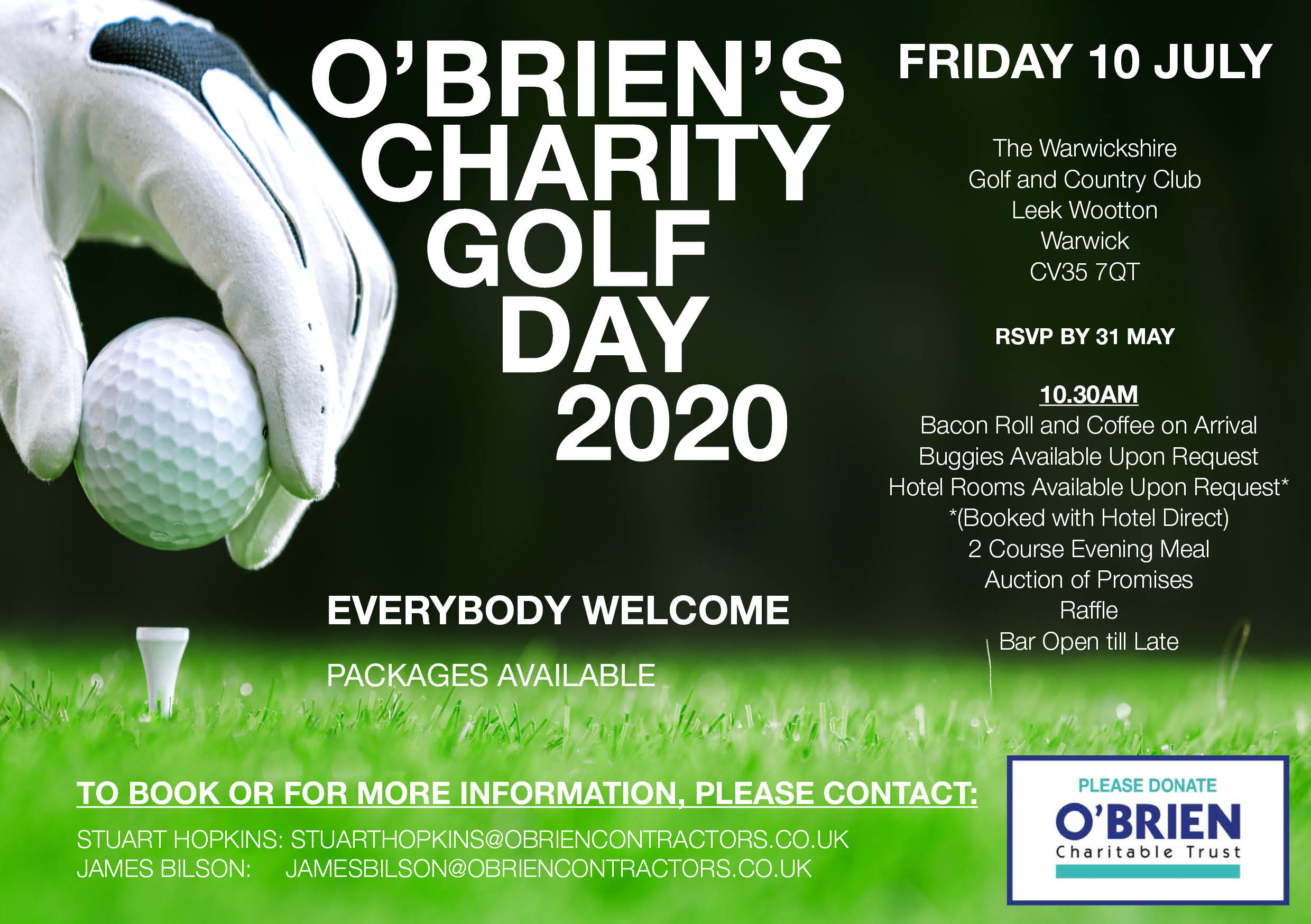Teeing off our Charitable Trust 2020 Events with the Super Popular Charity Golf Day! 10 JULY 2020
