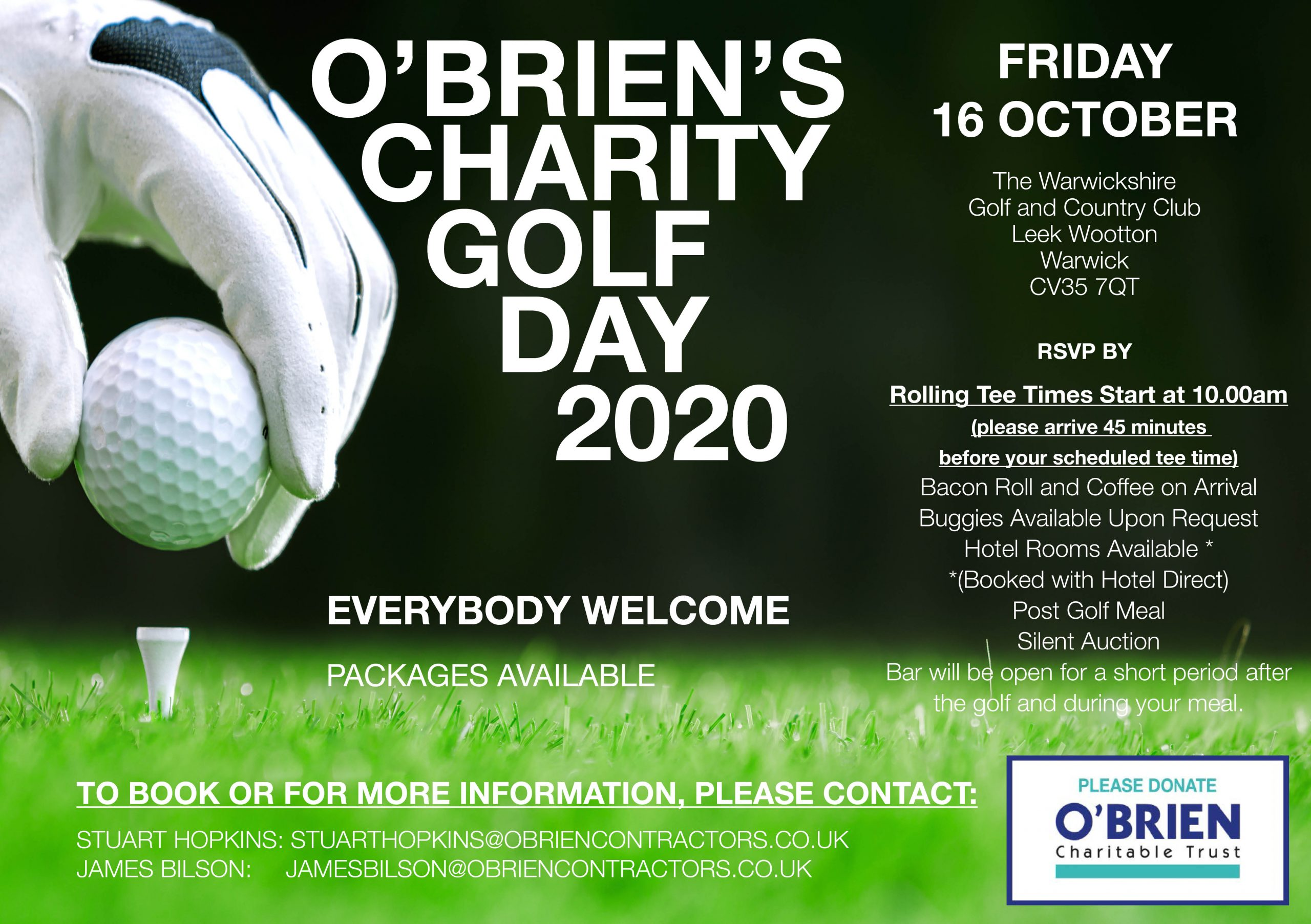 OUR CHARITY GOLF DAY IS BACK ON!!!! BOOK EARLY AS IT'S A VERY POPULAR EVENT!